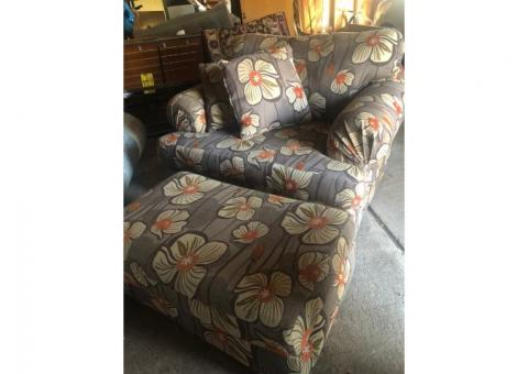 Floral Chair and a half with matching ottoman