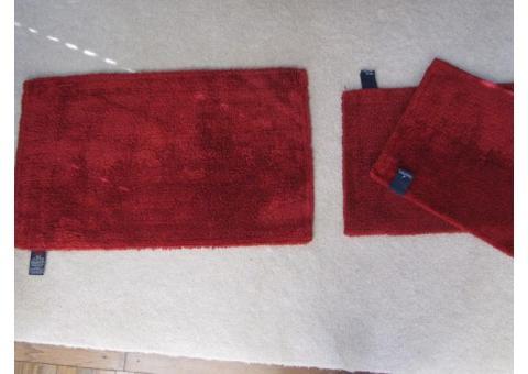 Nautica Set of 3 Bath Rugs - Dark Red
